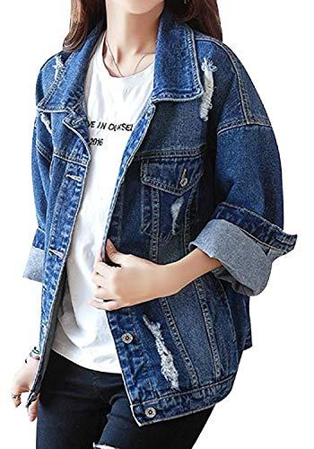 Giacca Donna Casual Streetwear Primaverile Outwear Stile 01 Jeans Giovane Grazioso Bavero Cappotto Moda Maniche Blau Stlie Relaxed Elegante Lunghe Autunno Blu Tendenza 5dZgwnYwq