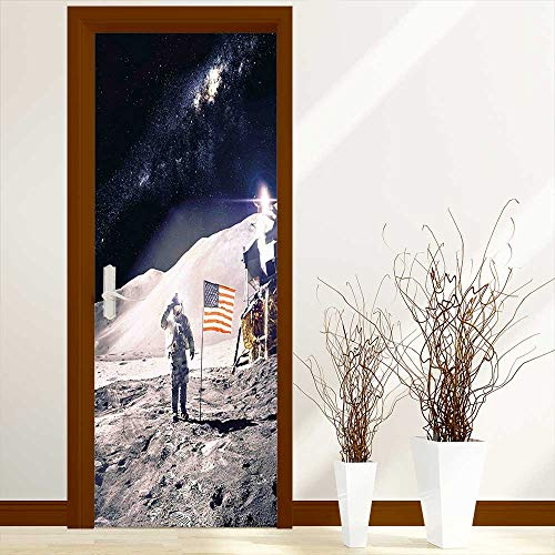 L-QN Creative Door Stickers Astronaut on Moon with American