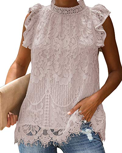 Lace Nylon Blouse - GAMISOTE Womens Lace Tank Tops Floral Crochet Cap Sleeve Turtle Neck Sleeveless Shirt