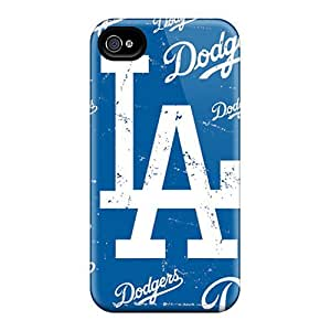 Scratch Resistant Hard Phone Cover For Iphone 4/4s With Custom Colorful Los Angeles Dodgers Pattern JasonPelletier