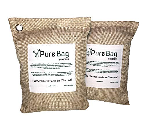 Invictus Pure Bag, 100% Natural Bamboo Charcoal 200g Air Purifying Bags, Deodorizer Used to Remove Odors, Keeping The air Fresh. Use in Your car, Kitchen, bedrooms, Closet, and bathrooms (2 Pack)