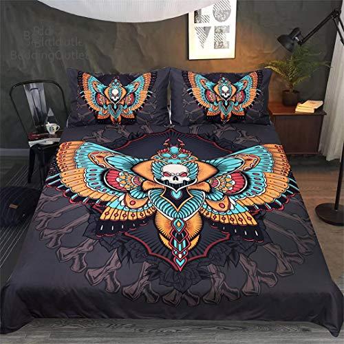Colorful Moth Bedding Set Gothic Skull Duvet Cover Set Butterfly Cool Home Textiles 3Pcs Bedclothes AU Queen -