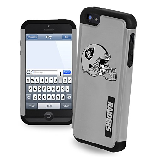 Oakland Raiders Rugged Dual Hybrid Helmet Logo Apple iPhone 5 & 5S Case (Oakland Raiders Logo Helmet)