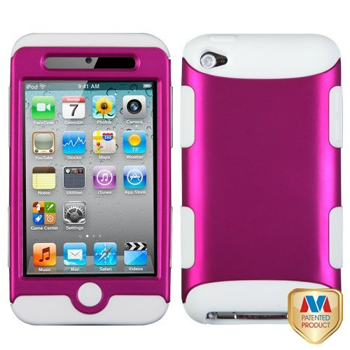 MyBat TUFF Hybrid Protector Cover for iPod touch Generation 4 (Hot Pink/ White)