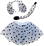 So Sydney Kids Teen Adult Plus Tutu Skirt, Ears, Tail Headband Costume Halloween Outfit (M (Kid Size), Dalmatian Dog White & Black)