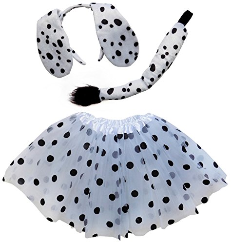 So Sydney Kids Teen Adult Plus Tutu Skirt, Ears, Tail Headband Costume Halloween Outfit (M (Kid Size), Dalmatian Dog White & -
