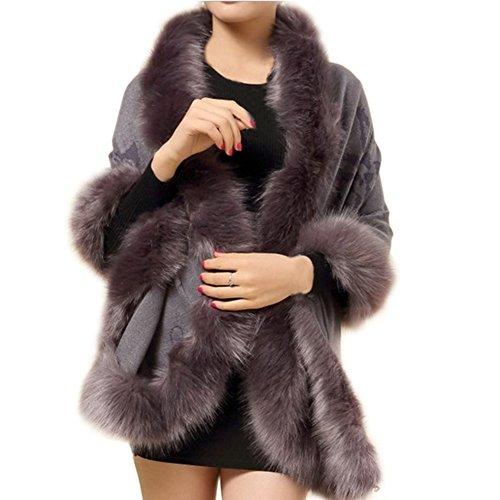 Artfasion Women Fashion Open Front Faux Fur Cloak Knitwear Cardiganm Sweater (gray)