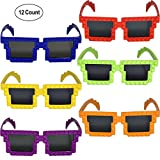 (US) 12 Pack Colorful Building Block Brick Glasses for Classroom Carnival Birthday Theme Party Favor Supplies Decorations Fun for Kids Teens Girls Boys and Children + Bonus Gift Boutique Balloon