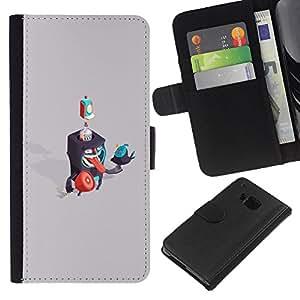 KLONGSHOP // Tirón de la caja Cartera de cuero con ranuras para tarjetas - Criaturas Abstract - HTC One M9 //