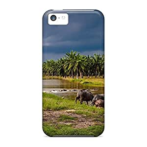 Bumper phone case skin Iphone Hard Cases With Fashion Design First-class iphone 6 4.7'' - water buffalos entering a river in southeast asia