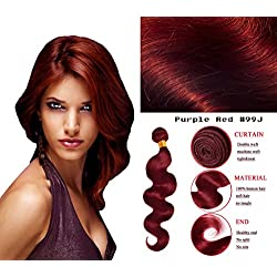 eCowboy BODY WAVE Bundle Brazilian Human Hair WAVY Extension Weft Track 100% Human Hair Convertible to Clip Extension Beautiful Purplish Red #99J color - 26 Inch