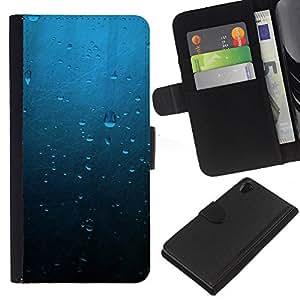 Gotas de agua - la tarjeta de Crédito Slots PU Funda de cuero Monedero caso cubierta de piel Para Sony Xperia Z2 D6502