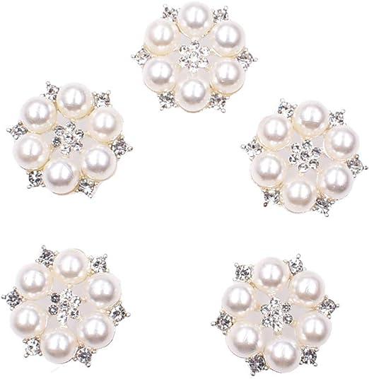 10pcs Crystal Rhinestone PEARL Buttons Flatback for Wedding Craft DIY 15mm