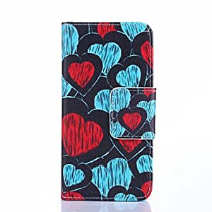 QHY Blue And Red Hearts Pattern PU Leather Full Body Case Card Slots And Stand Case for Samsung Galaxy S5 I9600