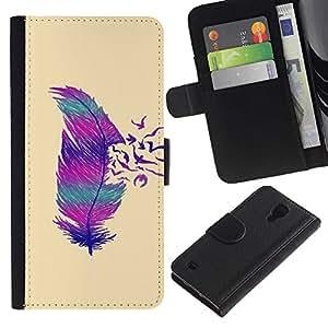 KingStore / Leather Etui en cuir / Samsung Galaxy S4 IV I9500 / Las aves de plumas minimalista rosa del arte del trullo