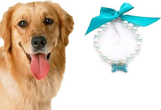 Ogquaton Perro Gato Perlas Collar Collar con Lazo Colgante Encanto ...