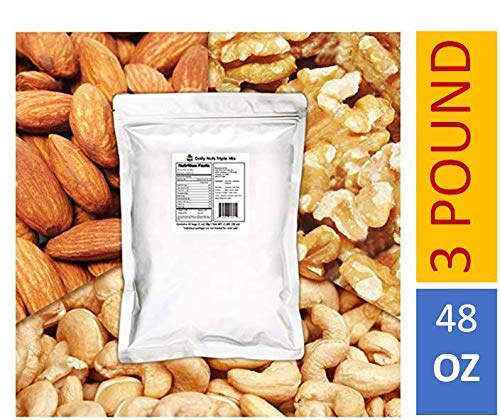 x 3 LB (Almonds (Dry-Roasted), Cashews (Dry-Roasted), Walnuts) No Artificials, Unsalted, Natural, Premium Nuts ()