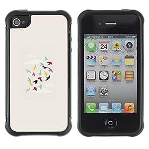 Suave TPU GEL Carcasa Funda Silicona Blando Estuche Caso de protección (para) Apple Iphone 4 / 4S / CECELL Phone case / / Birds Teal Green Pink Deep /