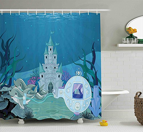 - summer-M Ocean Shower Curtain, Fairytale Mermaid Castle with Dolphins Moss Fish Sun Beams Art Print, Fabric Bathroom Decor Set with Hooks, 72 Inches Long, Turquoise Teal