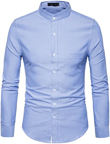 WHATLEES Mens Hipster Mandarin Collar Slim Fit Long Sleeve Casual Button Down Oxford Dress Shirt with Pocket T120 Ligbt Blue ()