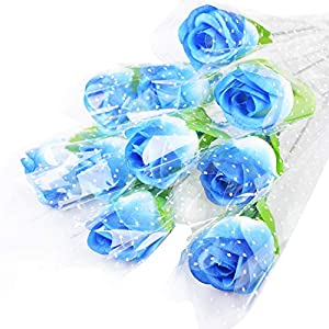 Turelifes 10pcs Silk Roses 31cm/12.2inch Artificial Single Rose Birthday Gift, DIY Romantic Red Rose Bouquet with Wrapper Package for Wedding Party Home Decoration 73