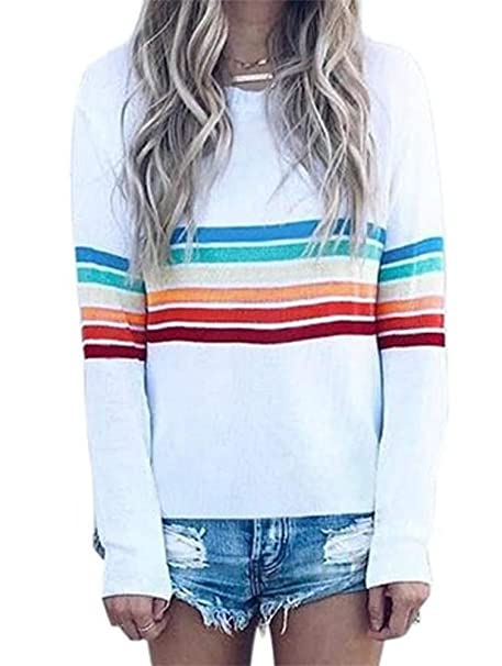 53c723e7f7f433 Womens Basic T-Shirt Rainbow Patch Work Striped Round Neck Tunic Top Plus  Size at Amazon Women's Clothing store: