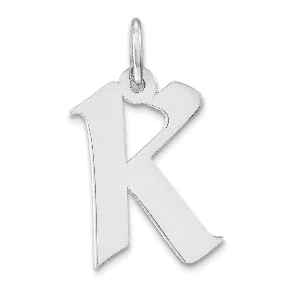 Jewelry Adviser Charms Sterling Silver Medium Artisan Block Initial K Charm