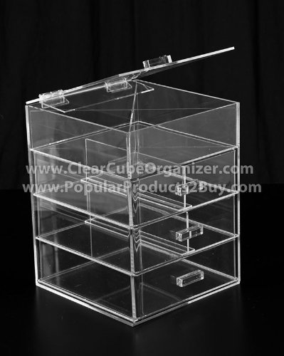 Acrylic Clear Cube Makeup Organizer 3 Drawers plus one w/Lid Display by Clear Cube Organizer