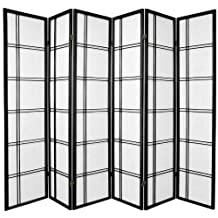 Oriental Furniture Premium Quality Wider Sized, 6-Feet Double Cross Folding Shoji Privacy Floor Screen Room Divider, 6 Panel Black by Oriental Furniture