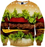 Pizoff Unisex Hipster Long Sleeve Crew Neck Colorful Hamburger 3D Graphic Print Black Sport Pullover Sweatshirts Y1759-04-XL