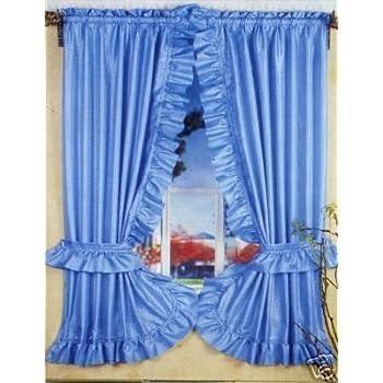 Amazon Com Blue Ruffled Priscilla Fabric Bathroom Window