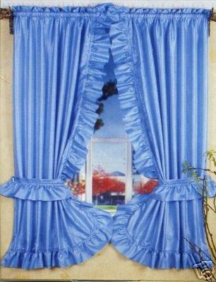 BLUE RUFFLED PRISCILLA FABRIC BATHROOM WINDOW CURTAIN