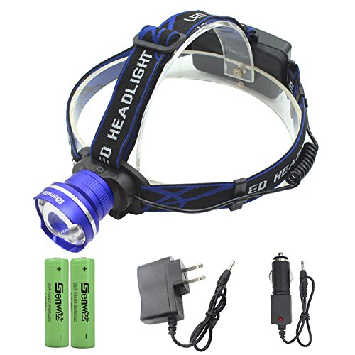 Led Headlamp Headlight Super Bright - Genwiss Head Lamp 3000LM CREE T6 Waterproof Head Torch with Rechargeable Batteries, Car Charger, Wall Charger for Camping Biking Hunting - Brighteyes Top Hat