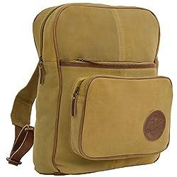 25d1638d59d81 Bestfort Unisex Damen Herren Vintage Retro Canvas Leder Rucksack  Schultasche Reisetasche Daypack Uni Backpack 14 Zoll Laptoprucksack für  Outdoor Sports ...
