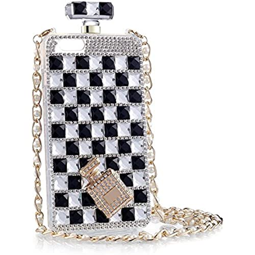 iPhone case, KAMIER Perfume Bottles Cover Phone Case Diamond with Pearl Mobile Phone Chain-Black and White,Galaxy S7 Sales