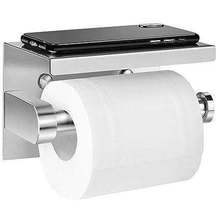 naturale Porta Carta Igienica Acciaio Inox 304 per Bagno e Toilette, Portarotolo Carta Igienica Senza Foratura
