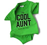 """Funny Baby Clothes """"The Cool Aunt Gave Me This"""" Green Bodysuit"""