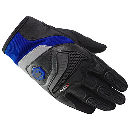 Price comparison product image Full Finger Padded Gloves with Knuckle Finger Protection with Reflector with Velcro for Motorcycle Driving Bicycle Riding (US-M,  Blue)