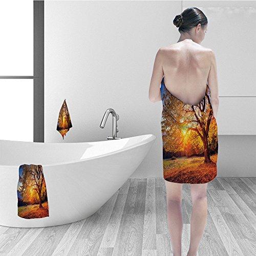 Nalahomeqq Bath towel set Fall Tree Decor Big Majestic Autumn Tree Shedding Faded Leaves on Hill Slop Season Landscape Fabric Bathroom Decor Brown