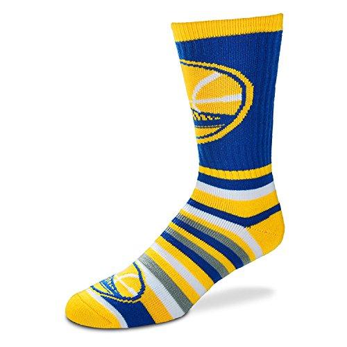 For Bare Feet Lotta-Stripe Men's Crew Socks Mens Medium 5-10 - Golden State Warriors