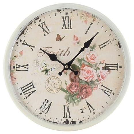Decoración Para El Hogar Estilo Vintage Shabby Chic Reloj Antiguo De Metal De Pared Con Las Manecillas Decorativas y Números romanos-Escena Faith y Rosas: ...
