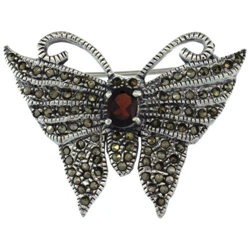 Sterling Silver Marcasite Butterfly Brooch Pin w/ Oval Cut Garnet Stone, 1 1/4 in. (32mm) tall