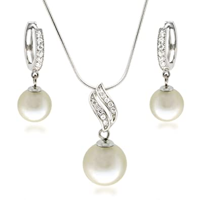 Brautschmuck set perlen creme  Schöner SD, Schmuck-Set mit Perlen in cremeweiß, Collier und ...