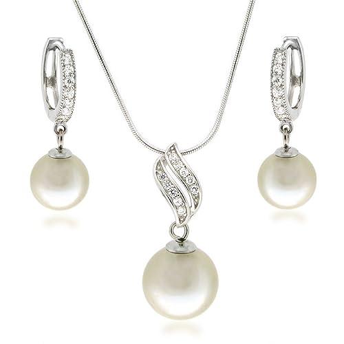 nuove varietà volume grande prezzo imbattibile Parure di gioielli con perle in bianco crema, collana e ...