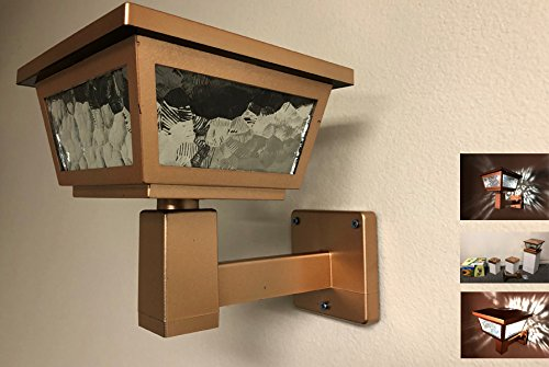 Solar Light Post Cap with 2 SMD and Real Pebbled Printed Glass for Wall Mount or base adapters for 5x5 and 6x6 Posts (Copper - Set of 4)
