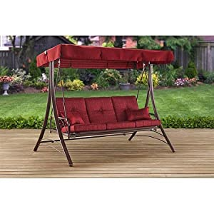 Mainstays Callimont Park 3-Seat Daybed Swing, Red / Three-person swing with canopy is UV-treated Supports three people, combining up to 750 lbs
