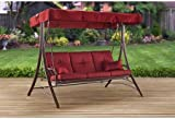 mainstays callimont park 3 seat daybed swing red   three person swing with amazon     mainstays wentworth hammock swing for 3 person      rh   amazon