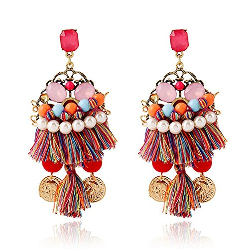 [Elakaka Bohemian National Wind Original Single Tassel Earrings] (Miss World National Costume)