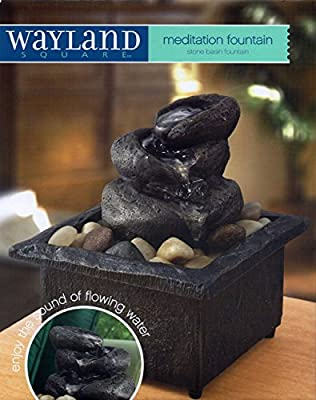 Tabletop Stone Basin Waterfall - Cordless Meditation Fountain