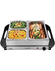 """Chefman Electric Buffet Server + Warming Tray W/Adjustable Temperature & 3 Chafing Dishes, Hot Plate Perfect for Holidays, Catering, Parties, Events & Home Dinners, 14"""" x 14"""" Surface, Stainless Steel"""